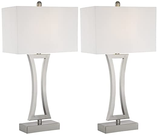 Roxie Brushed Nickel Metal Table Lamps Set Of 2 Amazoncom