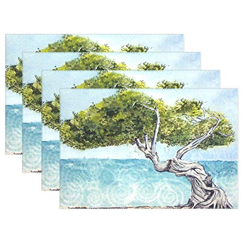 Promini Heat-Resistant Placemats, Seaside Divi Tree Washable Polyester Table Mats Non Slip Washable Placemats for Kitchen Dining Room Set of 4 ()