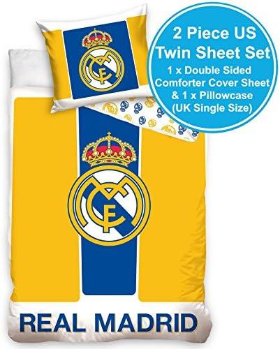 Real Madrid CF jaune et bleu coton unique couette couvrent ensemble