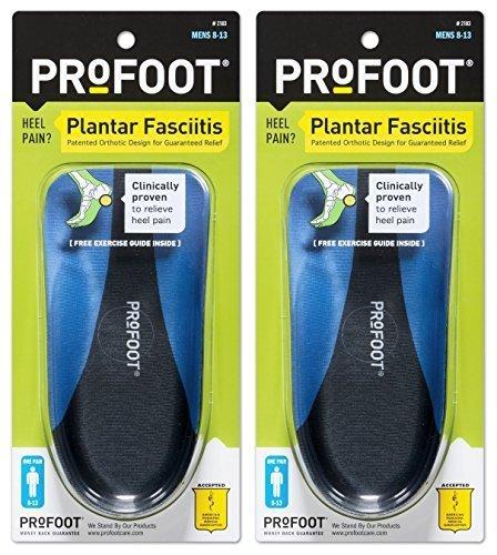 PROFOOT Plantar Fasciitis Orthotics, Men's 8-13, 2 Pairs