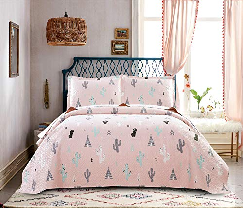 3 Pieces Kid\'s Cartoon Cactus Quilted Bedspread Set Full or Queen with Pillowcases,Colorful Succulent Plants Pyramids Lightweight Quilt Coverlet Bedding Sets for Summer (Full/Queen, Pink Cactus)