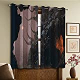 Custom design curtains/Vintage Lace Window Curtain/Grommet Top Blackout Curtains/Thermal Insulated Curtain For Bedroom And Kitchen-Set of 2 Panels(Mystery Cave Rocks River and Forest Digital Paint) Review