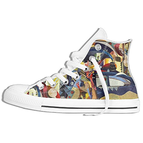 Classiche Sneakers Alte Scarpe Di Tela Anti-skid Collage Art Casual Walking Per Uomo Donna Bianco