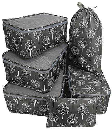 (Packing Cubes 6pcs Organizers Set for Carry on Travel Bag Luggage Cube (Grey Tree 6))