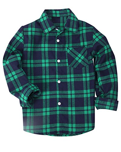 Button Green Shirt Plaid Down (Toddler Boys's Long Sleeve Plaid Flannel T Shirt Tops, Green, Age 7T-8T ( 7-8 Years ) = Tag 140)