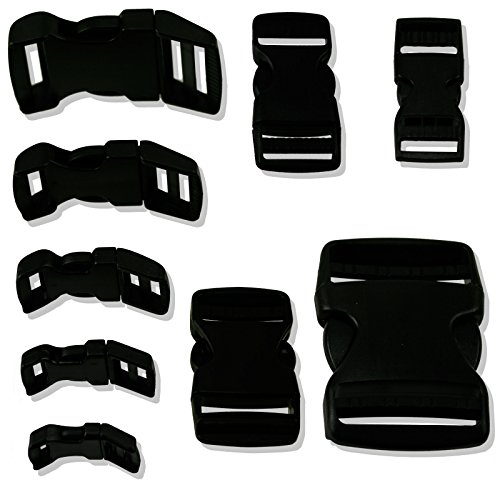 - 6pc Quick Release Black Strap Buckles Choose From 10 Sizes/Shapes - For Nylon Webbing or Canvas Straps