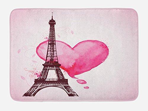 "Ambesonne Eiffel Tower Bath Mat, Eiffel Romantic Valentine Love Watercolor Theme Heart Leaf Silhouette Print, Plush Bathroom Decor Mat with Non Slip Backing, 29.5"" X 17.5"", Beige"
