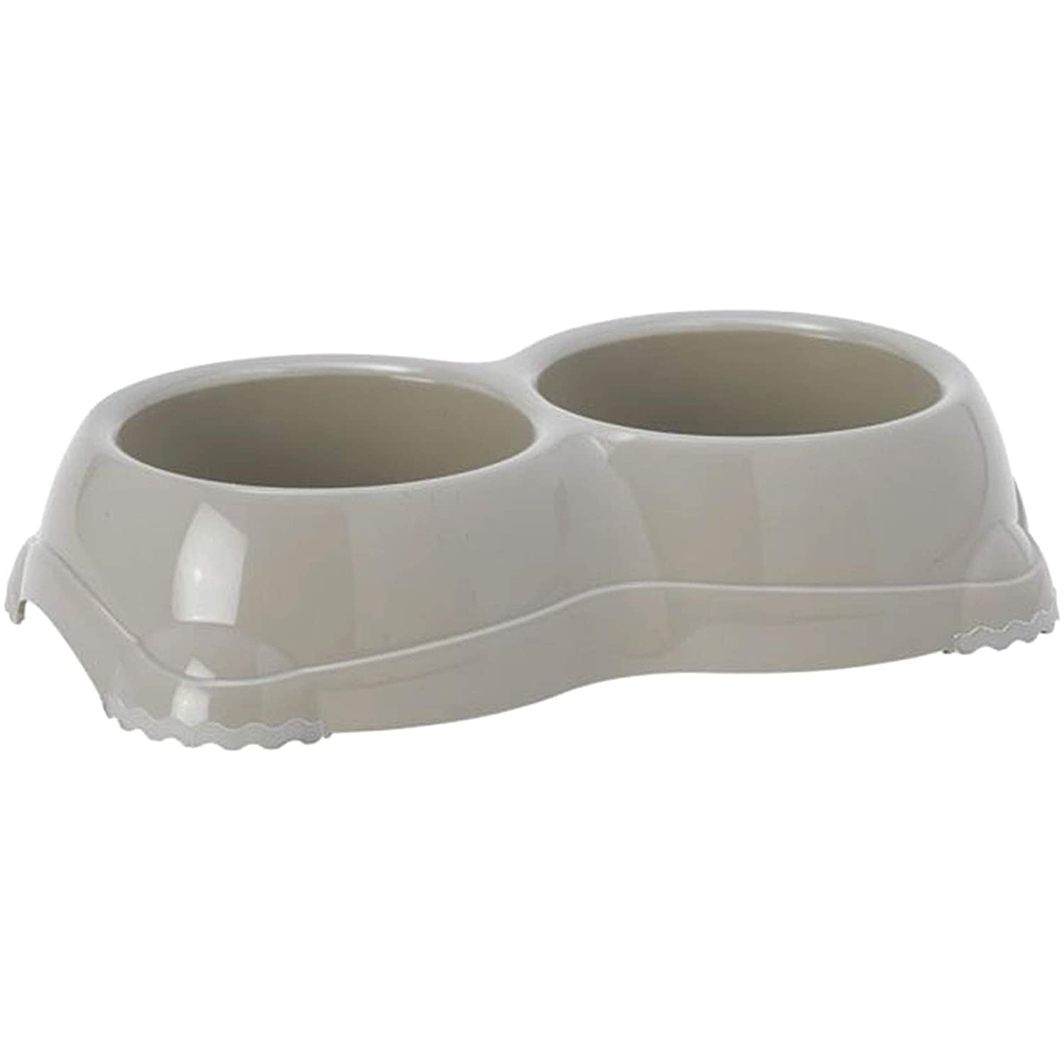 Grey Double Cat Bowl Non Slip Water Feeding Dishes - Kittens Pets & Dogs 0.33l Bolting Darts