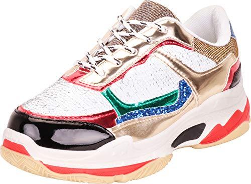 Cambridge Select Women's Retro 90s Ugly Dad Lace-Up Chunky Platform Fashion Sneaker,8.5 B(M) US,White Metallic