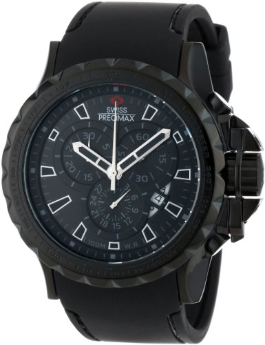 Swiss Precimax Men's SP13160 Command Pro Sport Black Dial with Black Polyurethane Band Watch