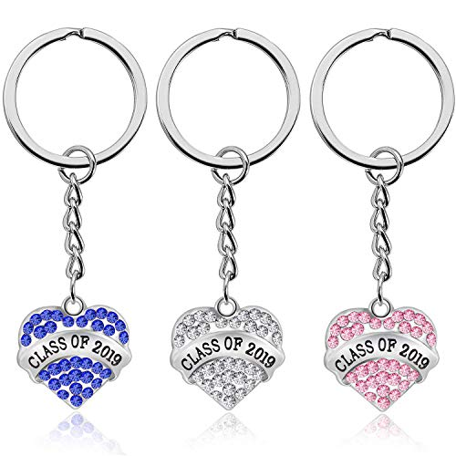 7-Almond 3 Pieces Graduation Keychains Class of 2019 Graduate Jewelry Gifts for Classmates, Teachers and Friends,Gifts for Him or Her Graduation Party Favor Ideas (Silver, Blue, Pink) -