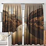 NUOMANAN Curtain Panels,Set of 2 Nature,Sunrise Over Secluded Rocks in Calm Lake Beaming Sun Reflections on Water Cloudy Sky, Multicolor,Modern Farmhouse Country Curtains 60