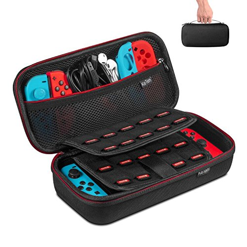 Keten Carry Case for Nintendo Switch, Protective Hard Portable Travel Case Pouch Shell with 19 Games Cartridge Holders for Nintendo Switch Console, Games, Joy-Con and Other Nintendo Switch Accessories (Black) product image