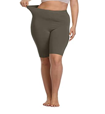 82e257a1e5fcd Kotii Women's Plus Size Short Leggings Modal Cotton Shorts Under Dresses Leggings  Pants,1X Army