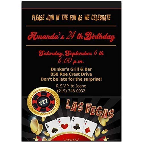 Amazon Com Las Vegas Casino Chip Birthday Party Invitations Handmade