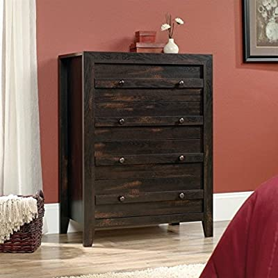 Sauder Dakota Pass 4 Drawer Chest in Char Pine