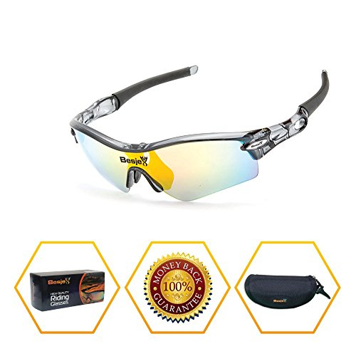 Besjex Polarized Sports Sunglasses with 5 Interchangeable for Men Women Cycling Baseball Biking Driving Fishing Golf Running Glasses UV400 Protection Goggles - Goggles Golf