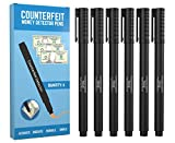 Counterfeit Pens - Money Detector Markers - Detects Fake Counterfeit Bills (6 Pens) with Easy Carry Pocket Clip