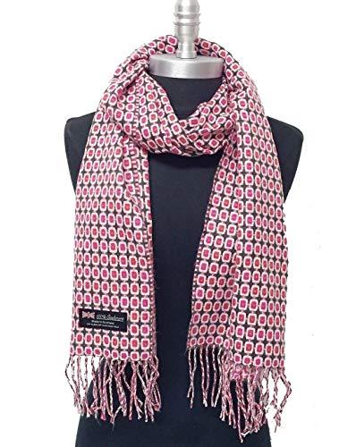 Women's 100% Cashmere Scarf Scotland Check Plaid Pink - Dark Gray - Light Pink - Rust Soft Wrap Shawl