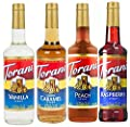 Torani syrup best sellers, Vanilla, Caramel, Raspberry And Peach, 4 Pack (25.4 Ounce Each) For Flavoring Coffee, Latte, Smoothies, Ices and Much More
