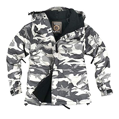- myglory77mall Mens Camouflage Hooded Weatherproof Winter Snowboard Ski Jacket US XL(2XL tag) S06