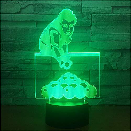 Jugar billar piscinas Snooker Lámpara de mesa 3D 7 colores ...