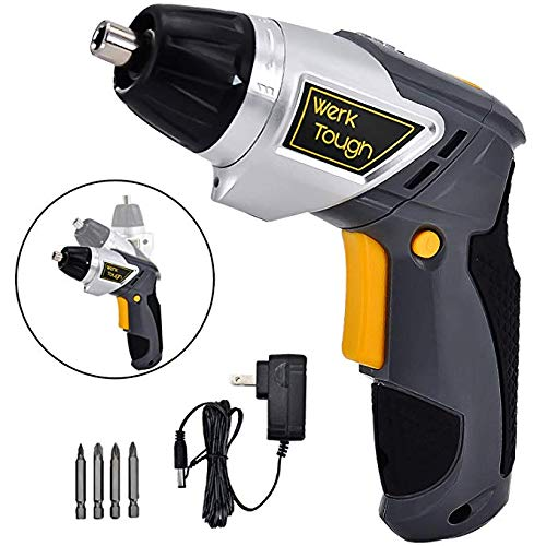3.6V Cordless Rechargeable Screwdriver Power Screw Guns with Twistable Handle Included Driver Bits With LED Light USB Charger By Uniteco (F08 Electric Screw -