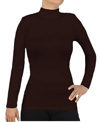 f4378e768da3bf Ooh La La Women Long Sleeve Knit Mock Fitted Stretch Turtleneck Blouse Top  at Amazon Women s Clothing store