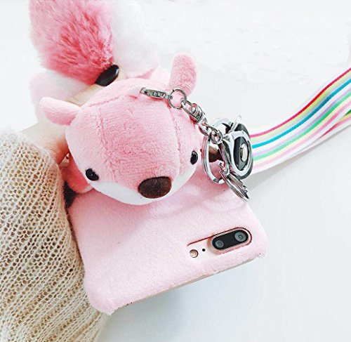 - for iPhone7 / iPhone8 Case, Omio Fur 3D Cute Squirrel Toy Soft Furry Tail Ball Cover Wrist Strap Keychain Key Ring Fluffy Plush Hairy Kickstand Stand Thin Slim Fit Shell for Apple iPhone 7 / iPhone 8