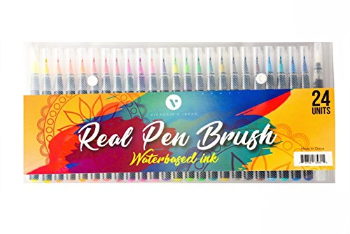 Victoria's Ideas - Watercolor Brush Pens set - Soft, fine tip pen kit 24 set - Calligraphy, lettering and drawing for kids and adults - Professional artist and beginners