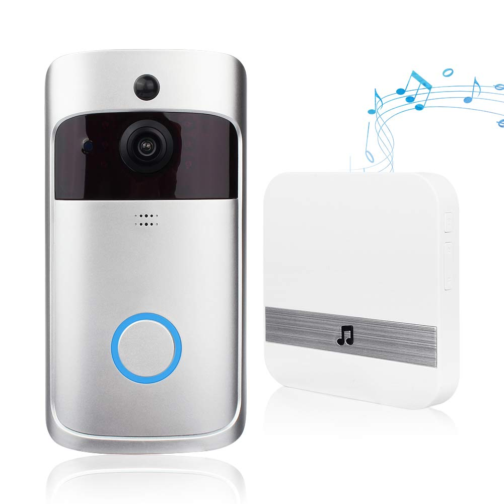 Video Doorbell, Doorbell Camera HD 720P WiFi Doorbell Wireless with Doorbell Chime Battery Power Operated Motion Detector Audio&Speaker Night Vision for iOS&Android