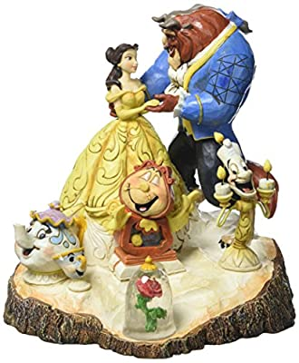 Disney Traditions by Jim Shore Beauty and the Beast Carved by Heart Stone Resin Figurine, 7.75""