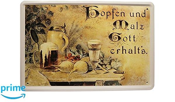 Cartel de Chapa lúpulo Dios conservación y de Malta s 20 x ...