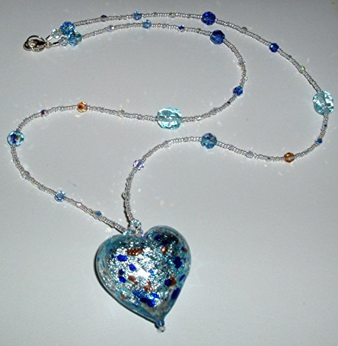 24K White Gold Infused Aqua Murano Heart Necklace by Marcell Treah