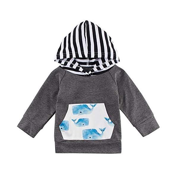 chicolife Toddler Infantile Manica Lunga con Cappuccio Set Neonati Maschi Patchwork Top Tuta Coulisse Pantaloni Outfit 0… 2