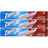Ziploc Storage Bags 2 Gallon, 12 Count (Pack Of 3)
