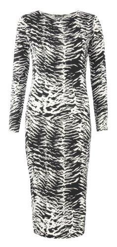 Fast Fashion - Vestido - para mujer Zebra Schwarz/weiß