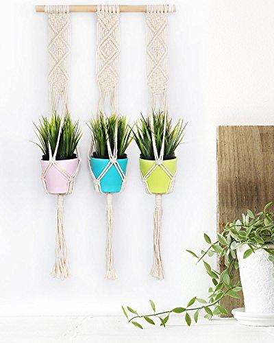 Macrame Plant Hanger, Seavish Trible Outdoor Indoor Cotton Cord Flower Pot Holder Boho Wall Hanging for Garden Balcony Patio (31'')