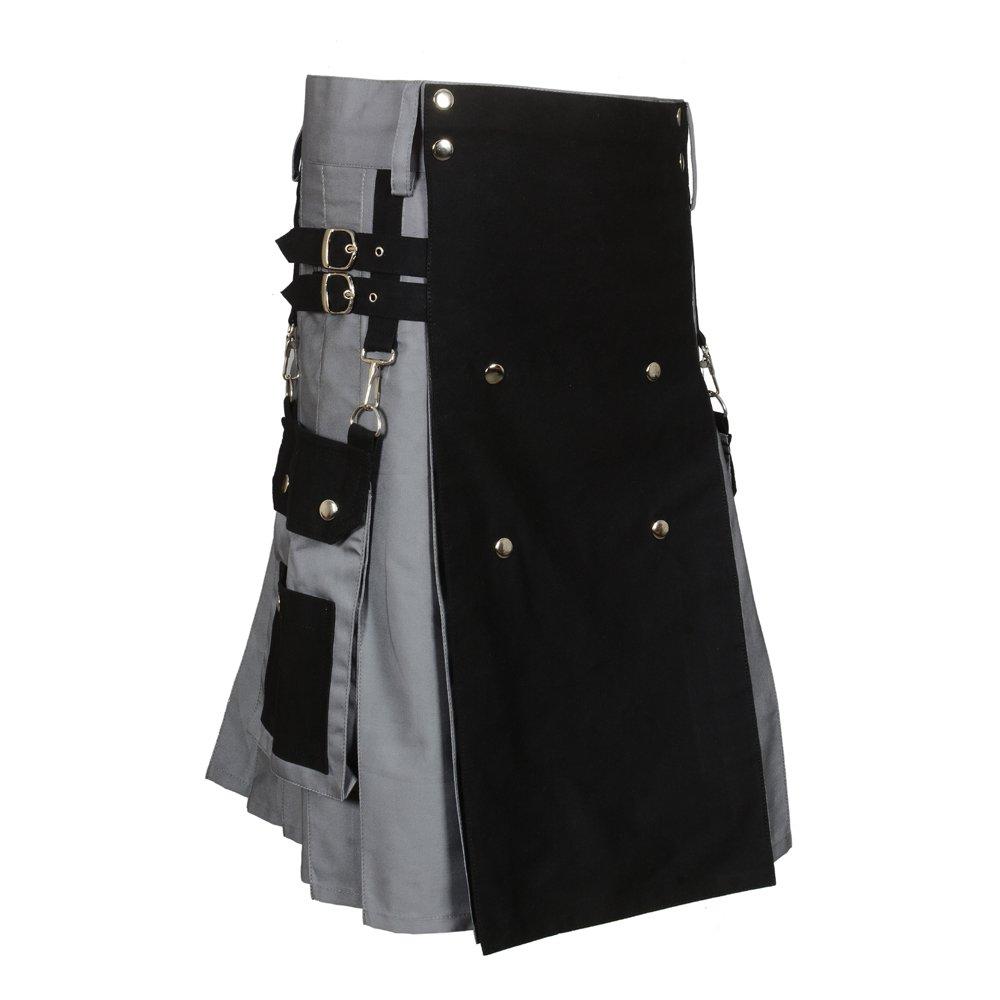 Scottish Black & Gray Two Tone Utility Kilt (Belly Button Measurement 36)