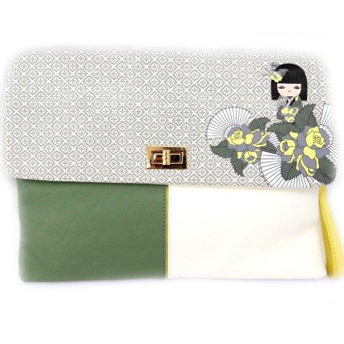 Designer-tasche 'Kimmidoll'weiß grün.