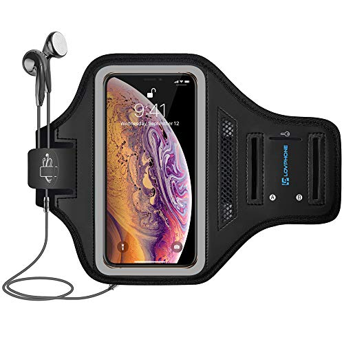 LOVPHONE iPhone Xs Max Armband Sport Running Workout Exercise Cell Phone Case with Water Resistant and Sweat-Proof for Walking, Hiking, Biking(Gray)