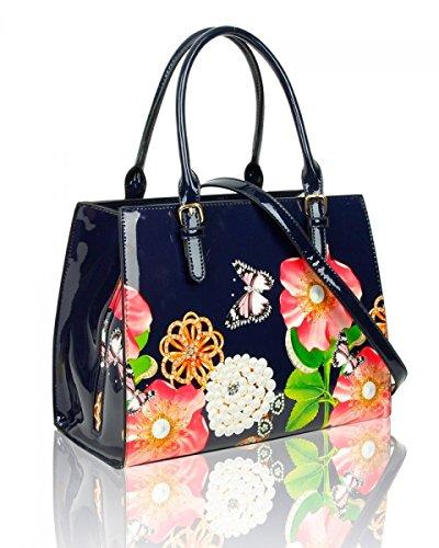 RoMaAn's IDeal Fashion - Bolsa de charol Mujer Azul Oscuro