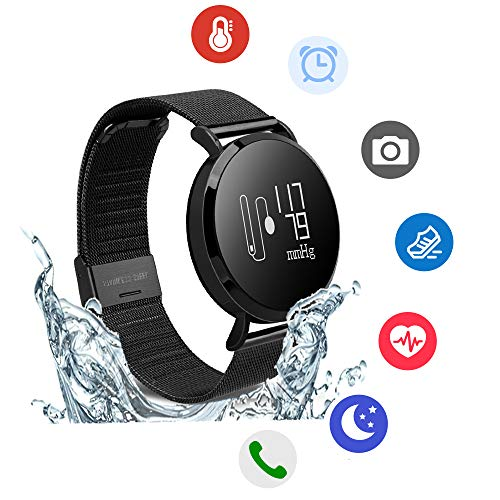 Hangang Fitness Tracker, Custom Activity Tracker with Heart Rate Monitor, Multiple Sport Modes Smart Watch Men, Women (Steel-Black) by Hangang (Image #1)