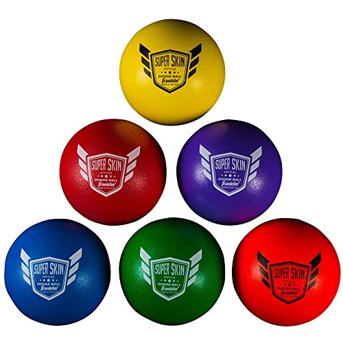 Franklin Sports Dodgeball Ball Set – Superskin-Coated Foam Balls for Playground Games – Small Dodgeballs for Gymnasium Games – Easy-Grip Foam Balls – Won't Shred or Tear for Hours of ()