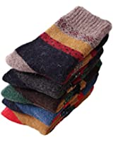 EBMORE® Womens Thick Wool Comfort Crew Winter Socks 5-Pack Mixed Colors