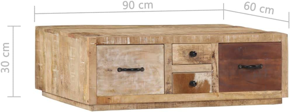 vidaXL Table basse 90 x 60 x 30 cm Bois de manguier massif