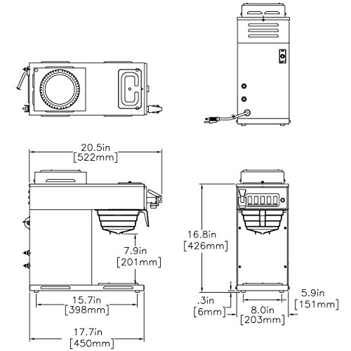 BUNN 12 Cup Automatic Coffee Brewer 12950.0211 / CWTF15-2, 1 Lower and 1 Upper Warmer by Bunn (Image #1)