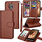 Moto E4 Plus Case, Moto E4 Plus Wallet Case, Motorola Moto E Plus 4th PU Leather Case, Tekcoo Luxury Credit Card Slots Holder Carrying Folio Flip Cover [Detachable Magnetic Case] & Kickstand – Brown