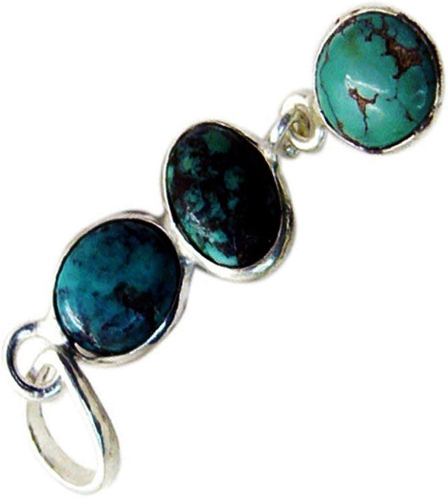 CaratYogi naturale turchese ciondolo in argento Sterling ciondolo per donna misti Birthstone Handamade Neckalce