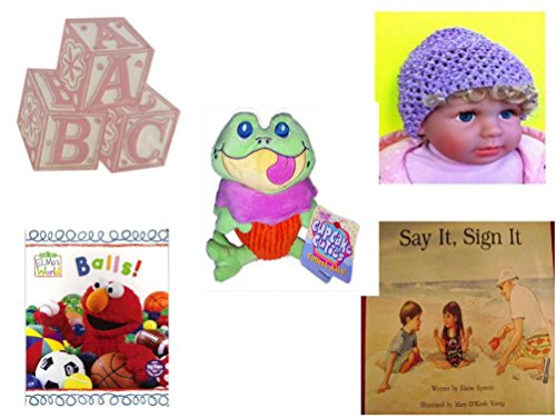 Children's Gift Bundle - Ages 0-2 [5 Piece] - ABC Baby Blocks Cake Topper Pink Girl - Baby Crochet Beanie Lavender - Cupcake Cuties Sugar Loaf Plush Stuffed Baking Pastry Funny Frog Doll 10